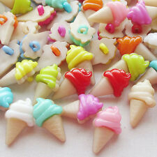100pcs Ice cream Plastic Button backhole craft mix