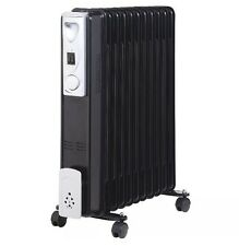 11 FIN 2500W PORTABLE ELECTRIC OIL FILLED RADIATOR BLACK HOME CARAVAN HEATER