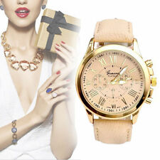 Fashion New Lady Women Leather Band Stainless Steel Quartz Wrist Watch