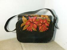 Black Leather Hand Painted Flowers Small Purse
