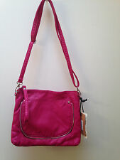 """NWT Like Dreams Super Soft Leather Hot Pink Small Shoulder Bag 11 x 8.5"""""""