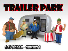 """TRAILER PARK"" FIGURE SET OF 4PC 1:18 SCALE DIECAST MODEL CARS AMERICAN DIORAMA"