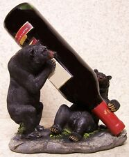Wine Bottle Holder and/or Decorative Sculpture 2 Black Bears NEW