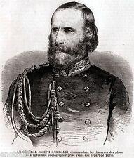 Giuseppe Garibaldi, Comandante dei Cacciatori delle Alpi. Risorgimento. 1859