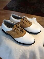 Men's  7.5 M  ETONIC Stabilite Softspikes Golf Shoes White/Brown EUC