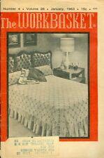 1963 The Workbasket Magazine: Crochet Beadspread in Popcorn Stitch/Kitchen Set