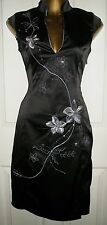 LADIES BLACK SILVER EMBROIDERED ORIENTAL LOOK  DRESS SIZE 8 JANE NORMAN
