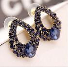 Hot Women Charming Luxury Blue Crystal Rhinestone Ear Drop Dangle Stud Earrings