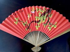 """Wall Fan Chinese water color original Hand painted  Bamboo frame 30"""""""