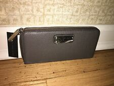 New MARC JACOBS $198 Wallet Zip-Around Slim Continental Leather Gray-NWT # 9410