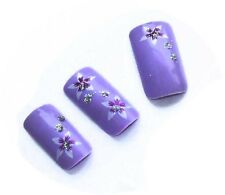 24 AIRBRUSH FALES NAIL PALE LIGHT PURPLE  WITH FLOWER GLITTER NAILS + TABS