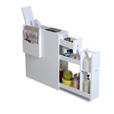 White Wood Bathroom Toilet Cabinet Floor Stand Storage Cabinet Organizer Holder