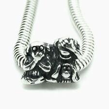 SEE HEAR SPEAK no evil- 3 Monkeys-Solid 925 sterling silver European charm bead