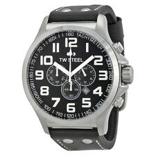 TW Steel TW413 Men's 48mm Black Dial Chronograph Black Strap Watch