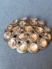 VINTAGE 1930'S - 1940'S RHINESTONE SEW ON PIN OR BROOCH, ROUND, DOMED. MINT!!
