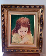 Vintage Original Oil Portrait Painting of Young Girl Child w/ Duck Signed Framed
