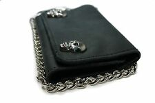 "leather biker/trucker chain wallet  w/skull snaps blk leather 5 1/4"" ."