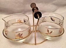 Vintage Libbey Glass Gold Leaf Golden Foliage Sugar and Cream Set With Carrier