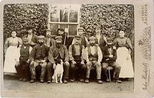 WORKERS WITH DOG OUTDOOR ANTIQUE CABINET PHOTO & ABERDEEN, SCOTLAND STUDIO