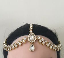 Golden Crystal Indian Matha Patti Tikka Head Chain Jewelery Bridal Wedding 1