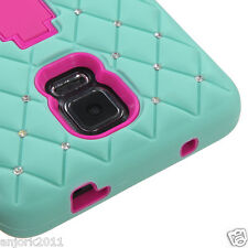 Samsung Galaxy Note 4 Hybrid Armor w/Stand Case Diamond Skin Cover Green/Pink