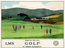 Impresión de arte De Viaje Turismo Ferrocarril Sport Golf Putt Verde LMS Escocia Reino Unido nofl1258