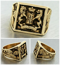 Men's Judaic Jewish Macabee Torah Handcarved 14K 585 Yellow Gold Vintage Ring