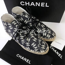 NEW 2015 Chanel CC Logo Black White LEATHER Espadrilles High Top Sneaker Size 38