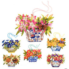 150 Die-cut Gift Tags with Flowers in Antique Vases and a 3D Butterfly