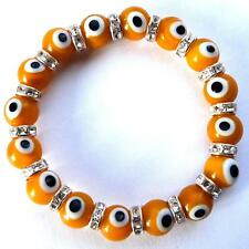 "**BEAUTIFUL YELLOW ""NAZAR"" TURKISH EYE BRACELET WITH DIAMANTE**"