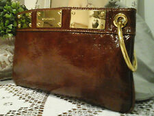 STEFANEL Italian Designer - Genuine Glossy Leather Clutch pouchette handbag ~BN