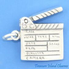MOVIE MOVABLE CLAPPERBOARD CINEMA FILM SLATE 925 Sterling Silver Charm CLAPBOARD