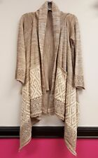 PAPER CRANE ANTHROPOLOGIE Size M Beige Tan Open Front Tribal Cardigan Wrap Top