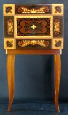 Vintage Italian Lacquered Marquetry Jewelry Music Box Accent Table Sewing 17""