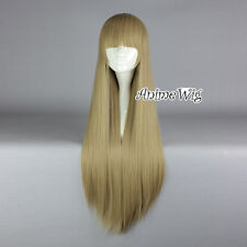 Dark Blonde Long Straight Lolita Women Neat Bang Style Fashionable Cosplay Wig