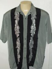 DRAGONFLY RETRO 2TONE TRIBAL EMBROIDERED HIPSTER LOUNGE BOWLING SHIRT MEN XL
