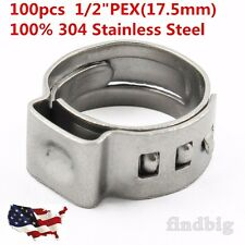 100 PCS - 1/2 PEX Stainless Steel Clamp Cinch Rings Crimp Pinch Fitting
