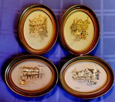 4 Vintage CLYDE COLE Lithograph Signed Prints ~ English Inns ~ Oval Framed