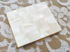Vintage Ladies Vanity Compact Goldtone With MOTHER-OF-PEARL Mosaic Inlay-Unused