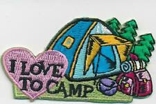 Girl Boy Cub I LOVE TO CAMP Tent camping Fun Patches Crests Badge SCOUTS GUIDE