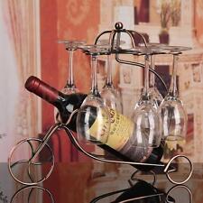 Vintage Metal Wine Bottle Holder Wine Glass Stemware Rack Home Bar Decor Display