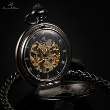 KS Antique Half Hunter Black Roman Pendant Skeleton Mechanical Men Pocket Watch
