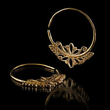 Gold Hoop Brass Earrings Lotus Flower Style Tribal Ear Rings Jewelry (Code 307)
