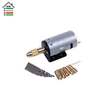 Micro Hand Electric Drill 5-12V DC Motor PCB Press 5PC Collets W/ Holder Bracket
