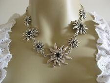 ♥ Räumungsverkauf Trachtenkette 7 Edelweisse weiß schwarz Wiesn Kette Dirndl NEU