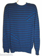 Paul Smith Black Blue Stripes Men's Cotton Sweater Size 2XL NEW RetAIL $265