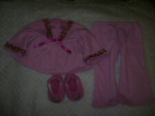 AMERICAN GIRL DOLL JULIE PJ'S & SLIPPERS PINK PANTS SHIRT OUTFIT RETIRED 18""