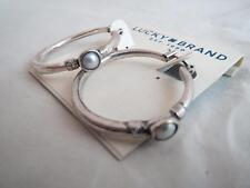 Lucky Brand silver tone~gray pearl hoop earrings,NWT