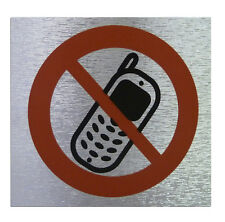"""NO MOBILE PHONE"" Sign Self Adhesive Material High Quality Brushed Metallic"