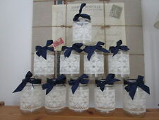 10 Vintage Glass Jars Vases Centre Pieces Navy Blue Shabby Chic Wedding